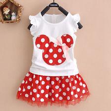 Kids Baby Girls Minnie Mouse Polka Dot Summer Party Dress Vest Skirt Toddler