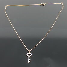 fdc2966e8b9a63 Fine 0.14ct Natural Pink Diamond & 14K Rose Gold Micro Pave Key Necklace