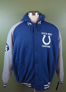 NFL Indianapolis Colts Mens Thermal Hooded Sweatshirt Jacket XXL Blue