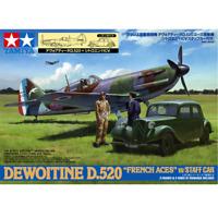 """Tamiya 61109 Dewoitine D.520 """"French Aces"""" w/Staff Car 1/48"""