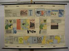 Beautiful School Wall Map Mural History Fries 1920-1970 118 x84cm ~ 1968 Vintage