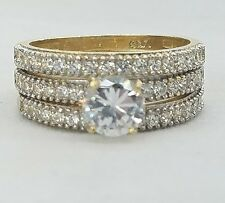 1.5 C 14k  yellow Gold 3 pc solitair round Engagement Wedding Ring band Set S6.5