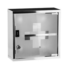 Small Stainless Steel Wall Mount First Aid Medical Medicine Cabinet Glass Door