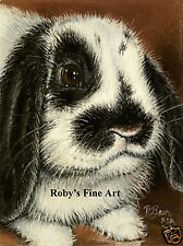 "Rabbit Art Print Lop Eared Bunny ""Cute Factor"" 5x7 Giclee by Artist Roby Baer"