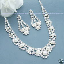 PEARL Necklace Set BRIDAL Wedding Bridesmaid Jewelry Prom CRYSTAL SILVER Sp #31