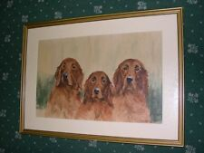 VERY LARGE ANTIQUE IRISH SETTER WATERCOLOUR NAMED DOG PAINTING 1930 WARD BINKS