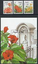 ANGOLA : 1990 Belgica 90 ( Flowers) set + Min Sheet SG930-2+MS933 MNH