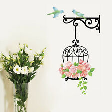 Wandtattoo Vogelkäfig Blumen Vogel Wandaufkleber Sticker Garten Wohnzimmer Dekor