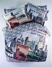 100% Cotton 4 pcs Paris New York QUEEN Double Bedding Duvet Cover Set