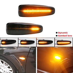 Smoke Dynamic LED Side Marker Blinker Lights For Mitsubishi Lancer Evo X Mirage