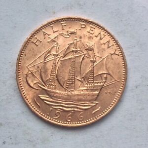 Vintage Uncirculated Bright Ship Half Penny 1966 (UK winners World Cup)