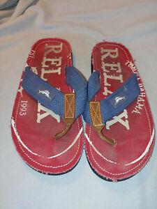 Men Tommy Bahama Beach Walker Red Blue Canvas Flip Flop Sandal Shoes Size 11