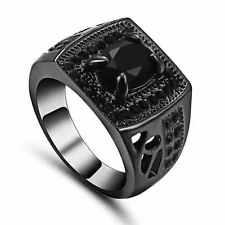Luxury Classic Size 6 Black Topaz 18K Black Gold Filled For Womens Mens Ring