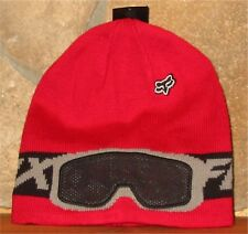 YOUTH KIDS FOX RACING BAMBOOZ  BEANIE Knit Toque Winter Hat Red w/ Mesh Goggles