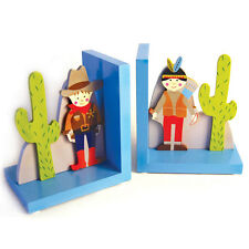 New Wooden Western Cowboy Indian Girl Book Ends Bookends Room Decor