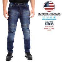 Mens Motorcycle Denim Cargo Biker Jeans Slimfit Protective Lining Touring Pants