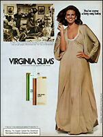 1976 woman nightgown cleavage Virginia Slims cigs vintage photo print Ad adL98