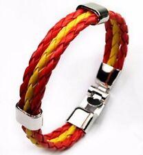 Bracelet cuir acier coupe du monde foot supporter ESPAGNE