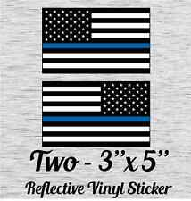 """MAGNET 5/"""" NJ New Jersey State Thin Blue Line Tattered American Flag Police MA..."""