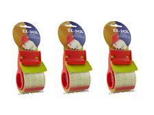 """3 pack of 2"""" Plastic Mini Hand Tape Dispenser With 800"""" of 2"""" Crystal Clear Tape"""