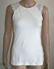 H&M Womens Cream Lace Trim Sleeveless Stretch Cotton Top Size M New