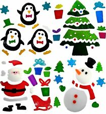 4 Sheets of Christmas Window Stickers - Gel Clings Glass Decoration