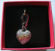 Juicy Couture Heart Charm Silver Crystal Pave Stones Love Bling New Box YJRU7327