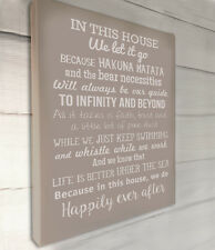 In this House We do, Disney inspired typography canvas wall art  Stone 12x16""