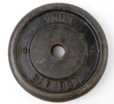 Vintage York Barbell ONE 10lb standard weight plate Cast Iron Bodybuilding