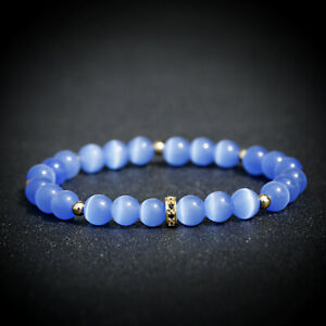 8mm Blue Moonstone Beads Bracelet Women Luxury Zirconia Stone Charm Braslet Gift