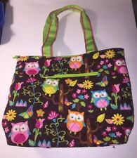 N Gil Quilted Tote Bag Diaper Bag Owls Butterflies Flowers Multicolor Brown