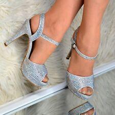 Señoras Diamante Sandalias De Tacón Alto Zapatos y Correa en el tobillo de noche de fiesta de boda Tamaño