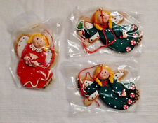 Vintage Angel Ornaments - set of 3 - Flying Angel & Angel with Peppermint