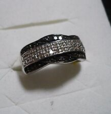 TONS OF SPARKLE** Black and White Diamond Ring  44 diamonds .33ct. SZ.7 MSRP$724