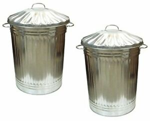 90L Galvanised Metal Rubbish /GARDEN/HOME/ KITCHEN/STORGE BINS PACK OF 2.