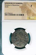 New listing Ancient Coin: Kingdom of Numidia Micipsa or Massinissa Ae26 Ngc F! #B7919