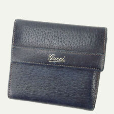 Gucci Wallet Purse Trifold GG Navy Woman Authentic Used Y1812