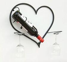 Wandbild Weinregal Herz Flaschenständer aus Metall 38 cm Flaschenhalter
