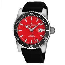Revue Thommen Men's Diver Red Dial Black Rubber Strap Automatic Watch 17030.2536