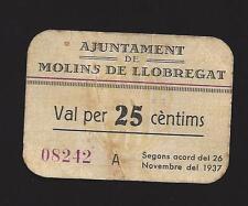 F.C. MOLINS DE LLOBREGAT (MOLINS DE REI) (BARCELONA), 25 CENTIMS 1937 S/A MBC.