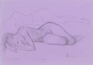 original drawing A4 112MT art samovar modern Graphite sketch female nude Signed