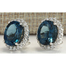 Stud Crystal Earrings Party Wedding Jewelry Womans 925 Silver Filled Blue Topaz