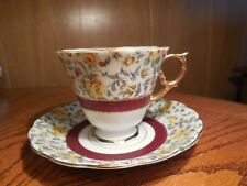 Collectible Cup & Saucer with Yellow Roses and Burgandy Ring/ Band