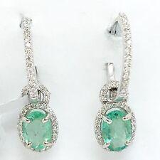 14K White Gold Emerald Diamond Dangling Hoop