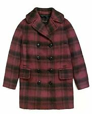 Coach Women's Wool Blend Plaid Peacoat Jacket CRANBERRY (Size MED) NWT MSRP $675