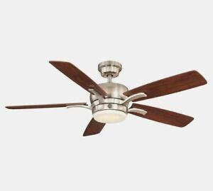 GE Adley Brushed Nickel Ceiling Fan 54in LED Indoor Reversible Blade Sky