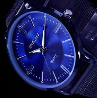 Excellanc Herren Uhr Schwarz Blau Edelstahl Mesh Armband