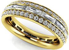 1.97 ct Round & Baguette Diamond Eternity Ring 14k Yellow Gold Band Size 6.5