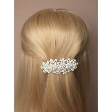 Ladies Beautiful Silver Tone Vintage Crystal Flower Barrette Hair Clip Slide S5