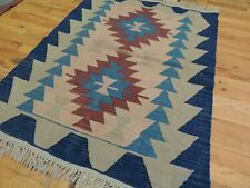 3x4, 3x5  Kilim Reversible Area Rug Geometric Tribal Blue Rust Navy Square